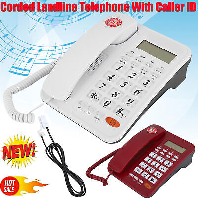 Corded Desktop Phone Wired Landline Telephone With Caller ID For Home Office • 18.06£