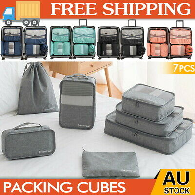 AU19.99 • Buy 1-7X Packing Cubes Travel Pouches Luggage Organiser Clothes Suitcase Storage Bag