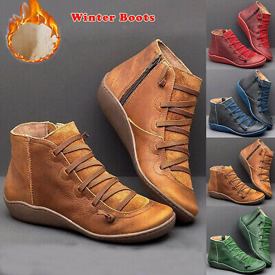 Women Fur Lined Ankle Boots Ladies Lace Up Casual Arch Support Flats Shoes Size • 12.99£