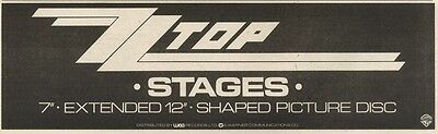8/2/86pn29 Advert: Zz Top Single Stages 0n Shaped Picture Disc 3x11 • 4.99£
