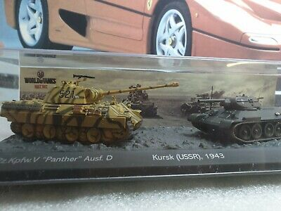 PANTHER Ausf.D & T34/76 - 1/72  SCALE MODEL DIORAMA  / WORLD OF TANKS COLLECTION • 14.99£