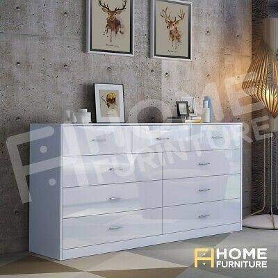 AU299.50 • Buy New 9 Chest Of Drawers Cabinet Dresser Table Lowboy Storage Bedroom Gloss White