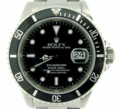 $ CDN10362.98 • Buy Mens Rolex Submariner Stainless Steel Watch W/ Black Dial & Bezel Date Sub 16610