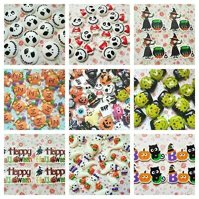 HALLOWEEN Skull Flatback Resin Planar Cabochon Embellishments Decoden Craft   • 2.50£