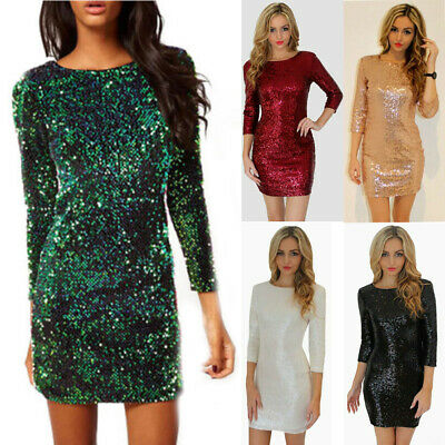 Womens Cocktail Party Sequins Bodycon Clubwear Mini Pencli Dress Size 6-16 • 13.95£
