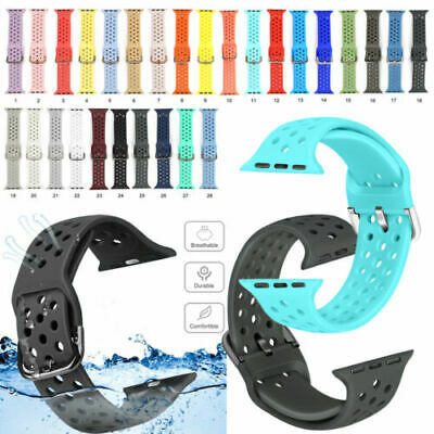 $ CDN7.91 • Buy For Apple Watch Series 6 5 4 3 2 1 Silicone Breathable Holes Band Wrist Straps