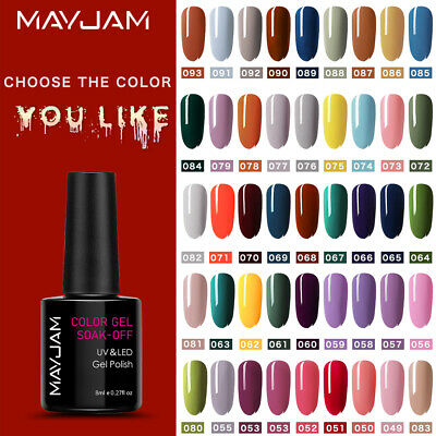 MAYJAM Nail Gel Polish Soak Off UV LED Colour Glitter Base Top Coat Varnish Full • 2.99£