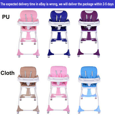 Portable Baby High Chair With Feeding Tray Padded Seat Foldable Highchair • 39.99£