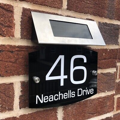 £19.99 • Buy House Door Signs Plaques Numbers 1 - 9999 SOLAR LIGHT Sign Street Name L3 Curve