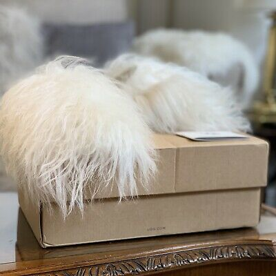 UGG Fluff Momma Mongolian Clog Slippers, Fuzzy White Size 3.5 RRP £145 • 80£