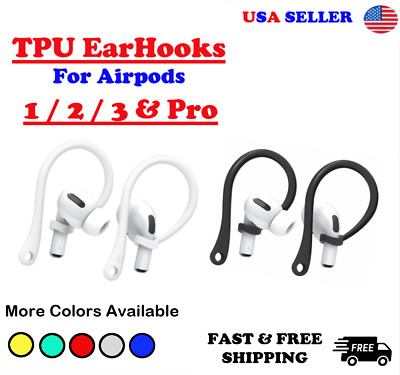 $ CDN7.24 • Buy For AirPods 1/2 Pro TPU Silicone Ear Hooks / AirPods Black/White / USA SELLER