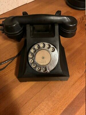 Vintage Bakelite Telephone, Black Colour, Fully Converted And Working • 65.99£
