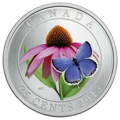 $23.78 • Buy 2013 CANADA 25 Cent Coloured Coin - Coneflower & Butterfly - Coin Only