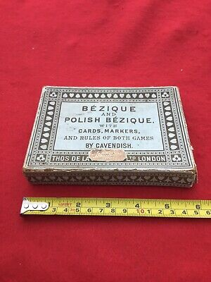 Vintage Bezique & Polish Bezique Card Game Box With Markers And Rules. No Cards. • 4.99£