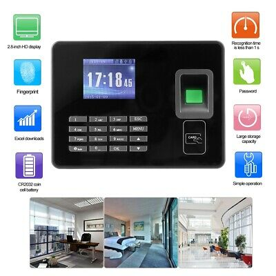 2.8in LCD Biometric Fingerprint Time Clock Office Employees Attendence Machine • 56.12£