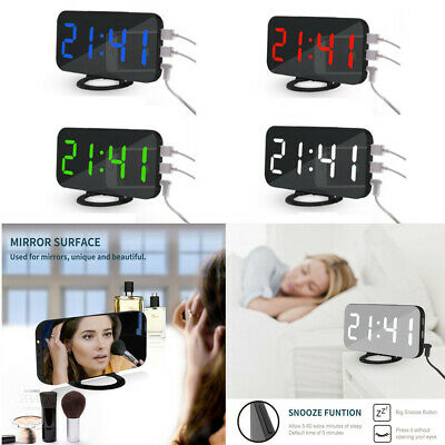 AU30.89 • Buy Mirror LED Alarm Clock Night Light Digital Clock With USB Charging Rechargeable