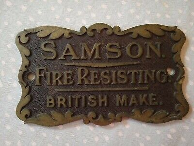 Antique Samson Fire Resisting Safe Plaque British Make • 28.99£