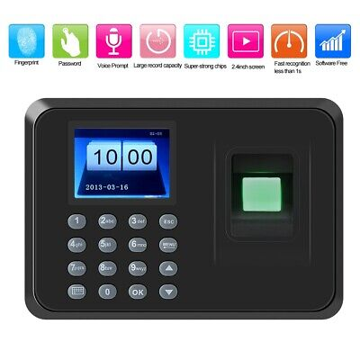 2.4in Smart Fingerprint Password Attendence Machine Time Clock 100-240V EU Plug • 27.57£