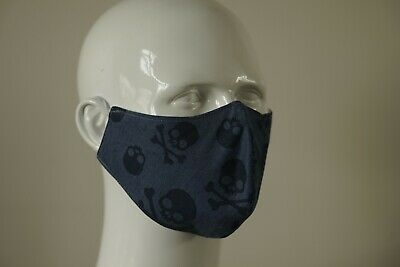 4 Ply Cotton And Silk Face Mask Skull & Crossbone • 6£