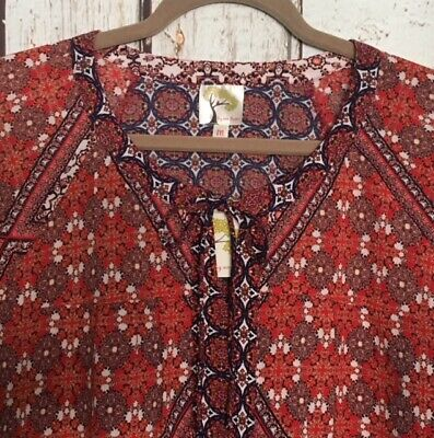 $ CDN44.16 • Buy Small/Medium New Anthropologie Red Blue White Print Tunic Blouse Top Crepe