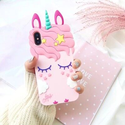 AU6.64 • Buy Pink Girls Unicorn Cute Case Silicone Gel Cover For IPhone 6 7 8 Plus XS