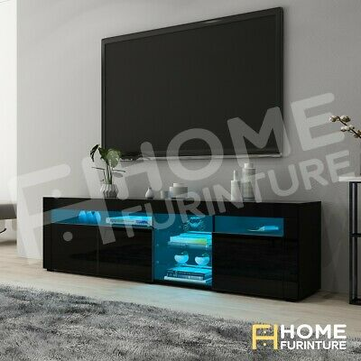AU239.50 • Buy Modern RGB LED TV Cabinet Entertainment Unit Stand Gloss Storage 180cm Black