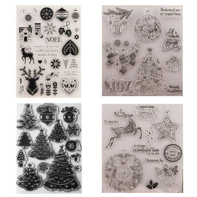 Christmas Clear Transparent Silicone Seal Stamps Rubber Scrapbooking Card Making • 3.98£
