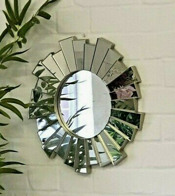 Champagne Gold Sunburst Ornate Art Deco Round Wall Mirror Vintage Decorative • 14.95£