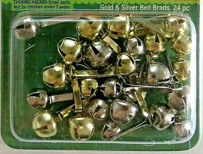 $3.99 • Buy Jingle Bell Brads Silver & Gold Christmas Decorations