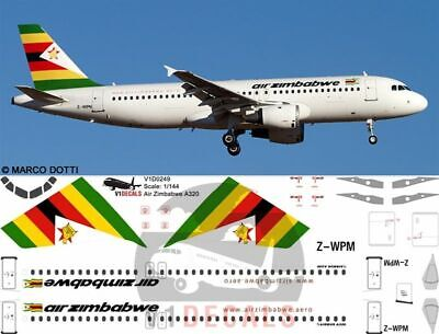 V1 Decals Airbus A320 Air Zimbabwe For 1/144 Revell Model Airplane Kit V1D0249 • 10.74£
