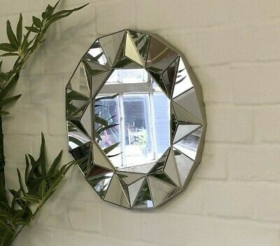 Champagne Gold Ornate Art Deco Round Wall Mirror Vintage Decorative Geometric • 14.95£