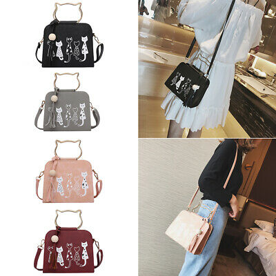 Ladies Women Cute Cat Handbag Messenger Crossbody Shoulder Bag Satchel Tote Bag • 6.59£