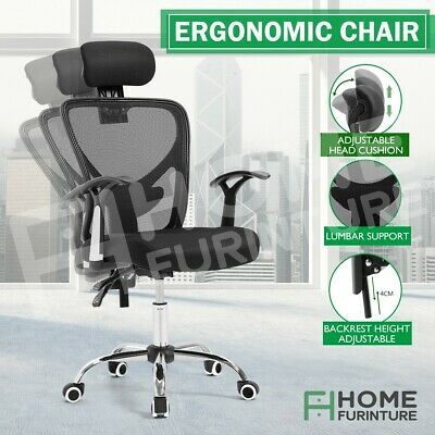 AU109.50 • Buy Breathable Ergo Adjustable Mesh Computer Office Chair W/ Lumbar Support - Black