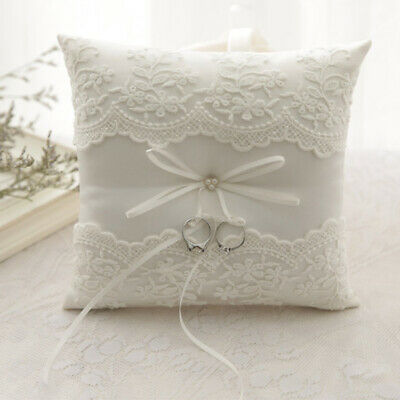1 X White Lace Bowknot Ring Pillow Wedding Bearer Cushion Engagement Party Decor • 8.73£