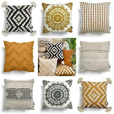 Ochre Cushion Covers Grey Rocco Boho Tufted Tassel Cream Filled Cushions 17x17  • 14.95£