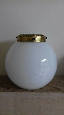 Vintage Milky White Opaline Glass & Brass Gallery Oil Lamp Shade Replacement  • 39.99£