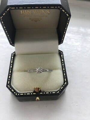 18ct White Gold 0.25 Ct Diamond Solitaire Ring Size M • 225£