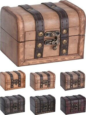 Small Distressed Wooden Chests Jewellery Box Treasure Chest Trunk Trinket Box • 11.95£
