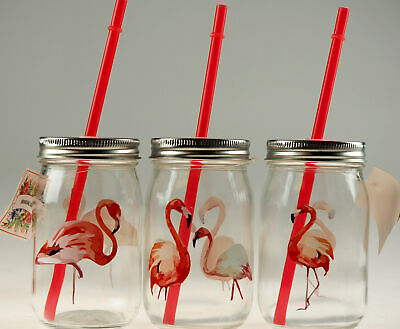 Set Of 3 Pink Flamingo Glass Drinking Mason Jars With Lid And Straw • 9.99£