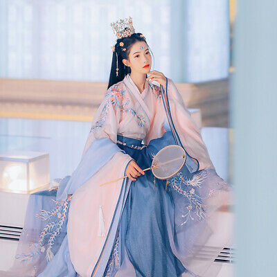 $ CDN83.42 • Buy Womens Elegant Chinese Traditional Oriental Embroidered Spring Hanfu Dress Gown