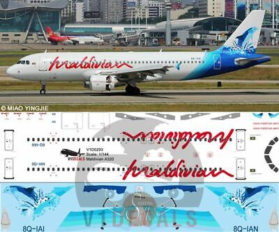 V1 Decals Airbus A320 Maldivian For 1/144 Revell Model Airplane Kit V1D0293 • 11.88£