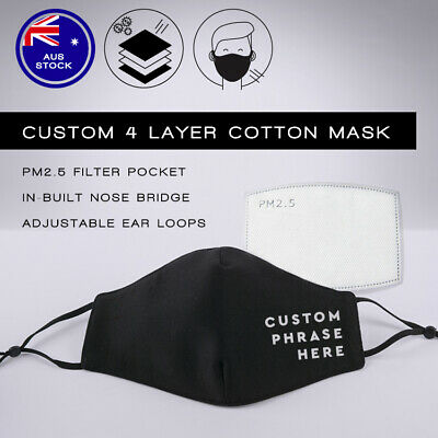 AU30 • Buy Custom Face Mask: Washable & Reusable 4 Layer Cotton Face Mask - Adjustable