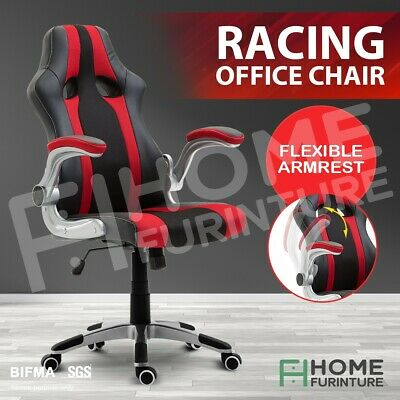 AU139.50 • Buy Executive Office Chair Ergonomic Gaming Racing Computer Desk Seat PU Leather Red