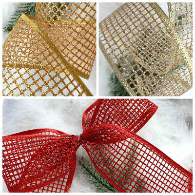 1m X 63mm Sparkly  Wired Christmas Ribbon Web Mesh  Red  Gold  Champagne Glitter • 2.50£