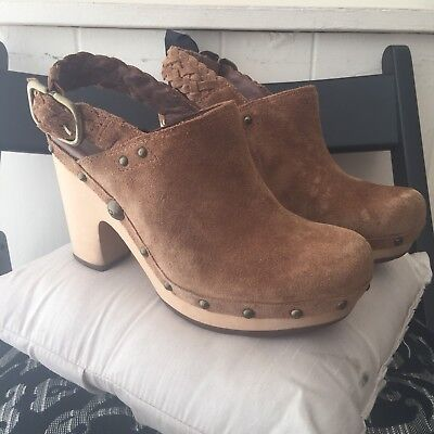 Worn Once Ugg Brown Suede Clog Style Shoes Size 4 1/2 • 50£