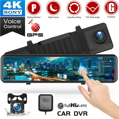 AU161.99 • Buy TOGUARD12  GPS 2.5K Mirror Dash Cam Rear View Car Backup Camera Voice Control AU