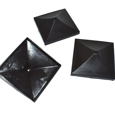 £6.79 • Buy BLACK PLASTIC PYRAMID FENCE POST CAPS TO FIT 75mm X 75mm (3  X 3 ) FENCE POSTS