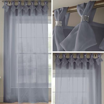 Grey Voile Curtain Diamante Sparkle Tab Top Pleated Panels Bling Sheer Voiles • 19.95£