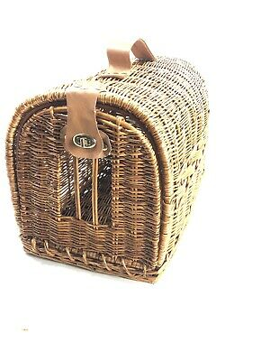 £90.90 • Buy VINTAGE WICKER Leather  PET CARRIER FOR SMALL ANIMALS Cat Dog
