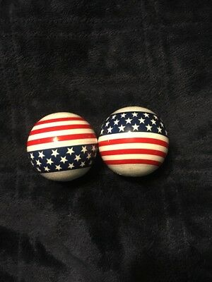 American Flag Car Truck ANTENNA BALL Red White And Blue Patriotic Lot Of 2 • 9.16£